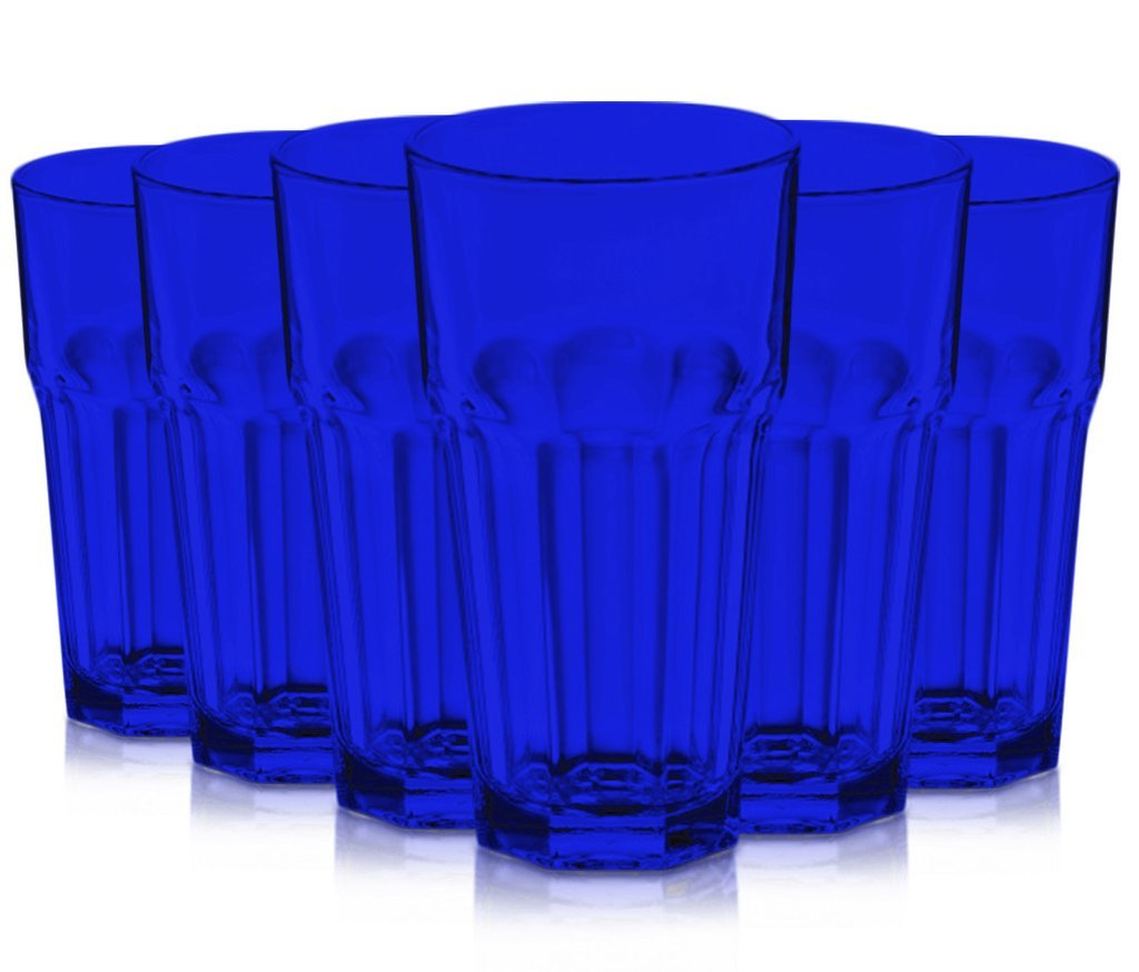 Blue Libbey Gibraltar 16-Ounce Cooler Glass set of 6 Full Additional Vibrant Colors... by TableTop King