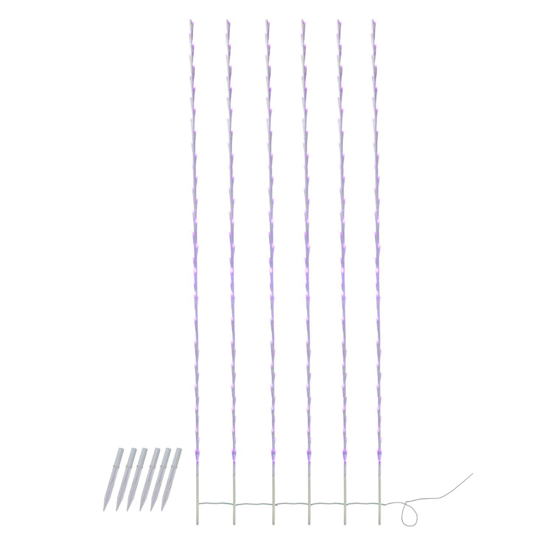 Jeu de 6 LED Violet Lighted Branche blanc Patio et jardin Nouveauté Stakes Lumière de Noël 6' - image 1 de 1