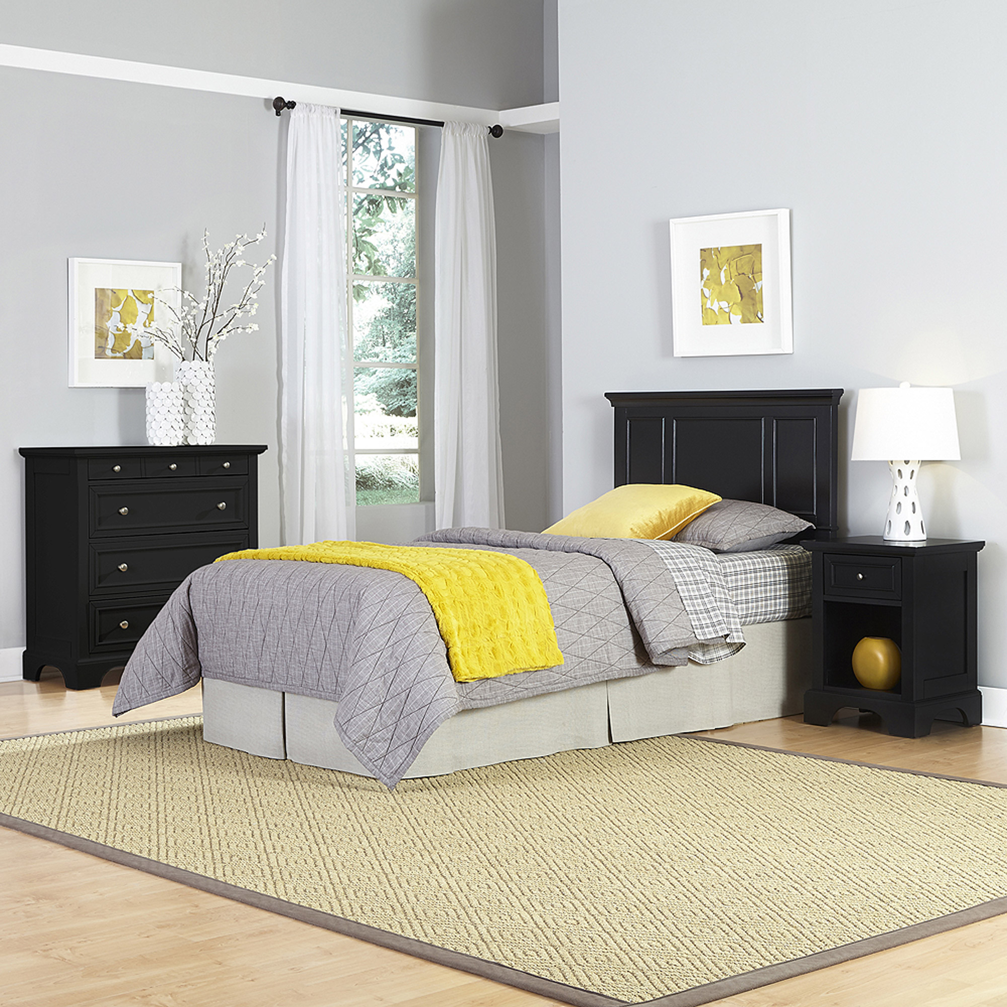 Home Styles Bedford Twin Headboard, Night Stand and Chest