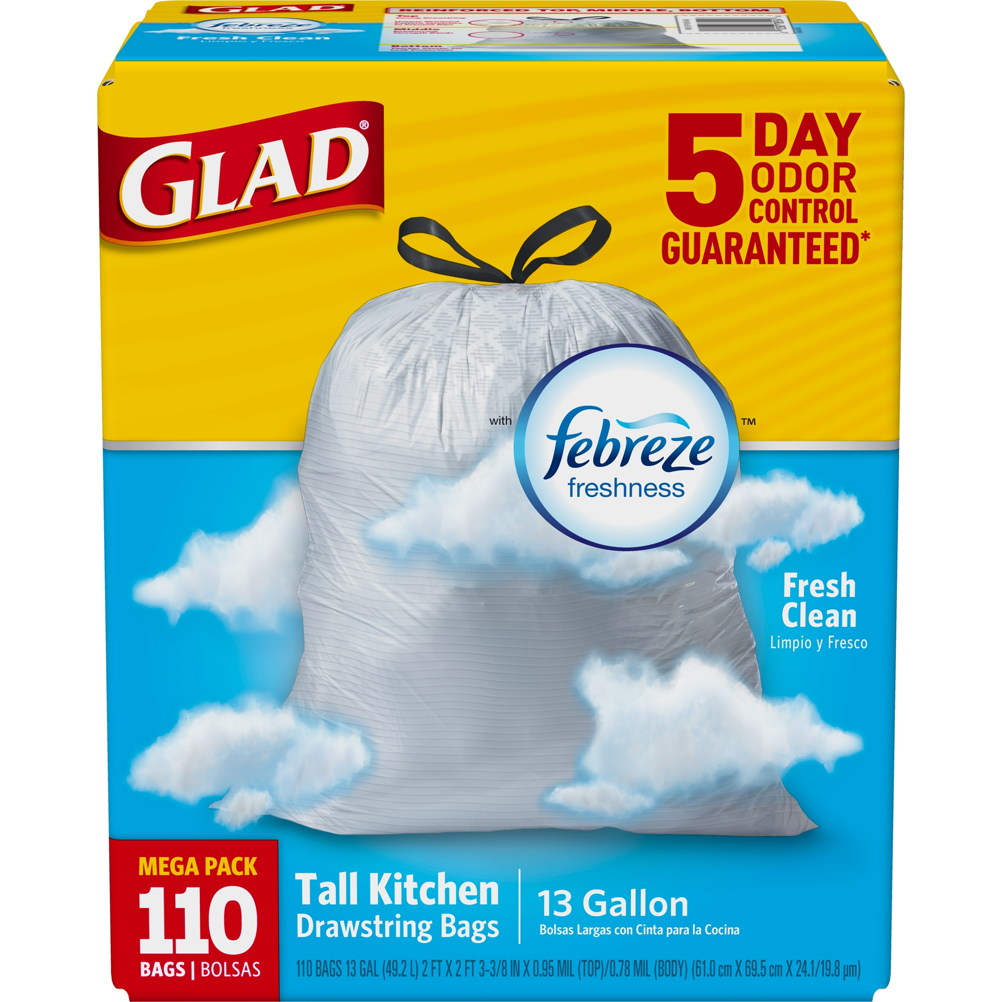 Glad Febreze Fresh Clean OdorShield Tall Kitchen Drawstring Trash Bags, 13 Gallon, 110 Ct