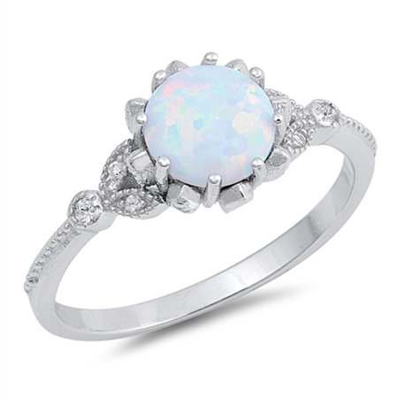 Opal Vintage Bands (CHOOSE YOUR COLOR Round White Simulated Opal Classic Vintage Ring .925 Sterling Silver Band )