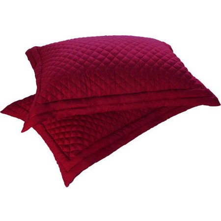 - Standard Lotus Home Diamondesque Water and Stain Resistant Shams, Red