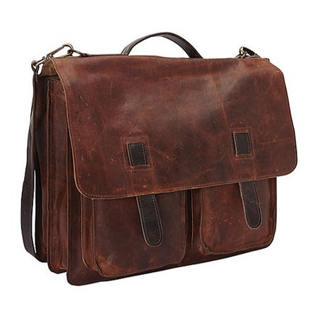 SHARO Genuine Leather Bags Two-Tone Laptop Messenger Bag Brown OSFA