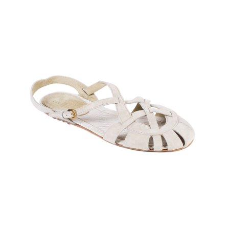 Car Shoe By Prada Beige Suede Caged Sandals