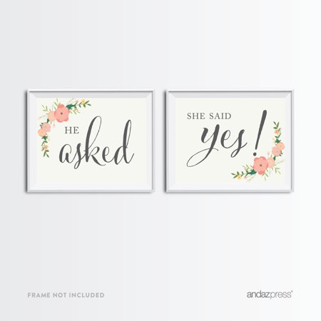 He Asked, She Said Yes! Bubblegum Pink Floral Roses Wedding Party Signs, 2-Pack - She Said Yes Bridal