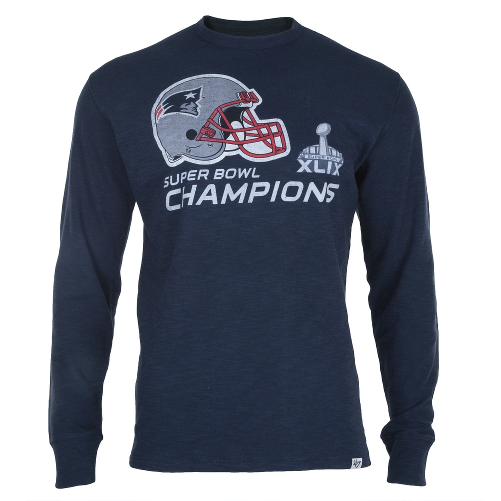 New England Patriots - Super Bowl 49 Champions Helmet Logo Scrum Long Sleeve T-Shirt