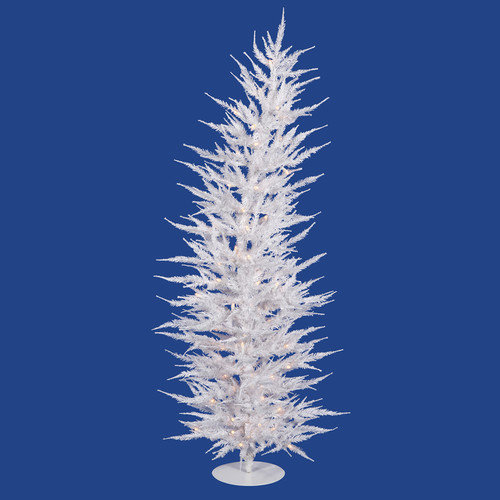 Vickerman Colorful Laser 4' White Artificial Christmas Tree with 70 Clear Lights