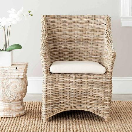 Safavieh Ventura Arm Chair, Brown/White Washed