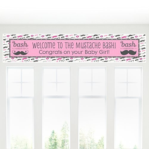 Pink Mustache Bash - Baby Shower Decorations Party Banner