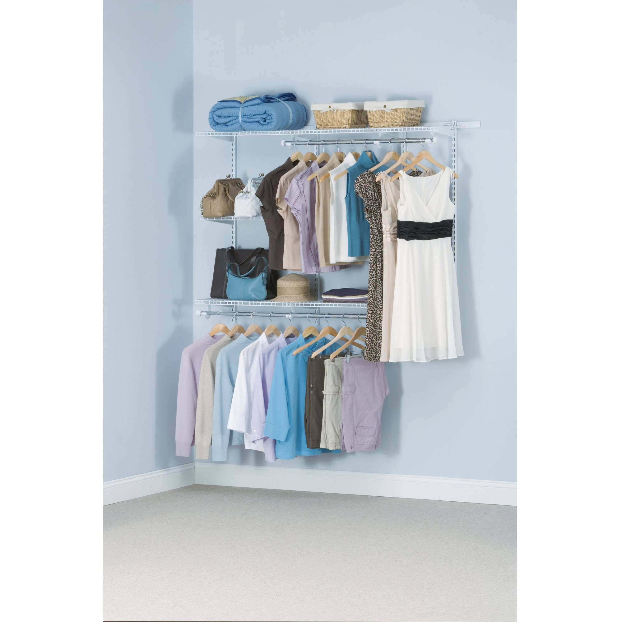 Rubbermaid Customizable and Configurable 3u0027 to 6u0027 Closet Kit, Titanium -  Walmart.com
