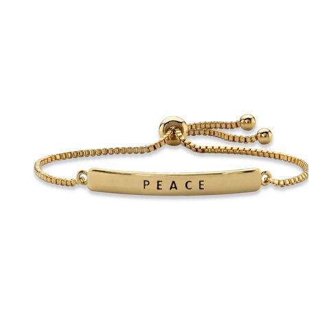 Womens Peace Bracelet - Peace Plaque Drawstring Slider Bracelet 14k Yellow Gold-Plated 10