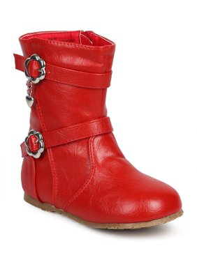 Little Angel DB81 Girl Leatherette Round Toe Flower Strappy Riding Boot (Toddler)