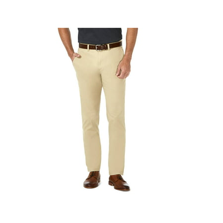 Mens Chino Pants Khaki (Haggar Men's Coastal Comfort Flat Front Chino Pant Slim Fit HC00222 )