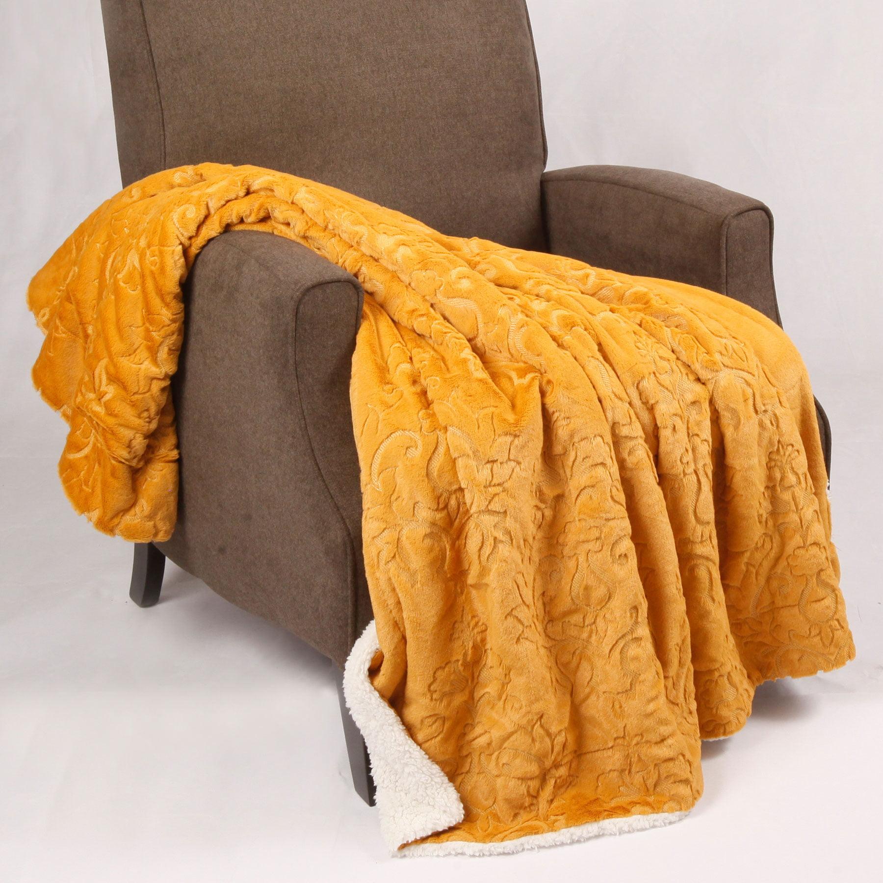 BOON Batik Faux Fur Embroidery Sherpa Throw Blanket