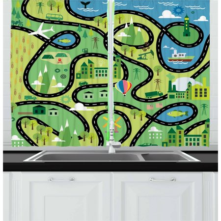 Boy's Curtains 2 Panels Set, Aerial View of Coastal Suburbs with Roads Cartoon Style Hot Air Balloon Windmill, Window Drapes for Living Room Bedroom, 55W X 39L Inches, Multicolor, by Ambesonne ()