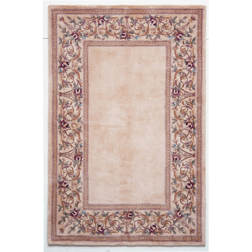 KAS Rugs Ruby Ivory Floral Border Area Rug