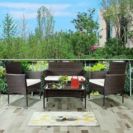 4 Pieces Sofa Wicker Conversation Set, Outdoor Furniture with Two Single Sofa, One Loveseat, Tempered Glass Table, Patio Furniture Sets for Porch Poolside Backyard Garden, Q8570