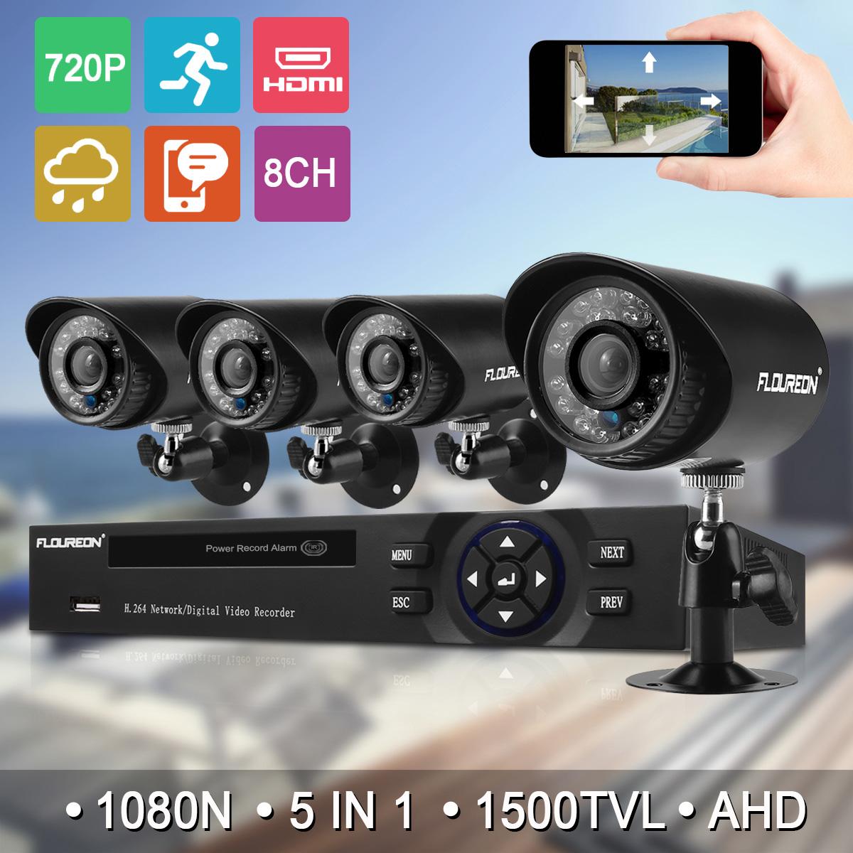 FLOUREON 1 X 8CH 1080N AHD DVR + 4 X Outdoor 1500TVL 720P 1.0MP Camera Security Kit US