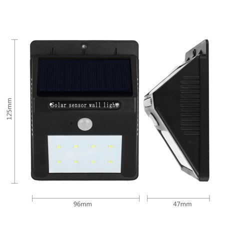 LED Solar Light PIR CDS Motion Sensor Lamp 8 LEDs 80 Lumens Waterproof - image 2 of 8