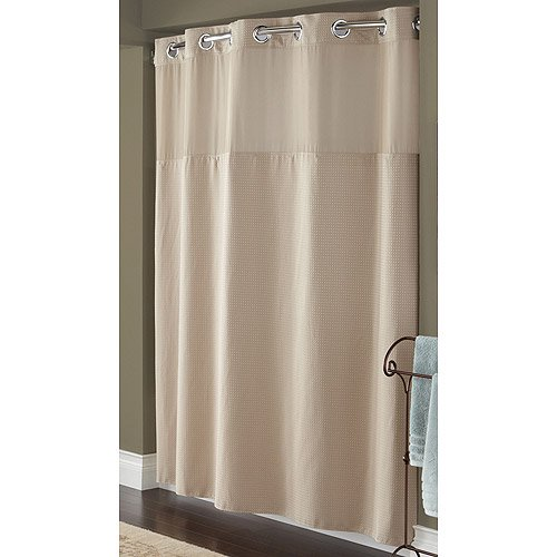 Hookless Taupe Diamond Pique Mystery Polyester Shower Curtain