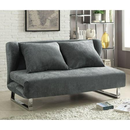Coaster Company Contemporary Sofa Bed, Grey Velvet Fabric