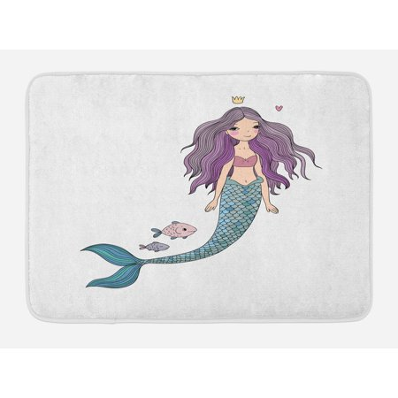 Fantasy Bath Mat, Cartoon Mermaid Princess with Wavy Hair Crown Little Pink Heart and Fish, Non-Slip Plush Mat Bathroom Kitchen Laundry Room Decor, 29.5 X 17.5 Inches, Violet Blue and Beige, Ambesonne