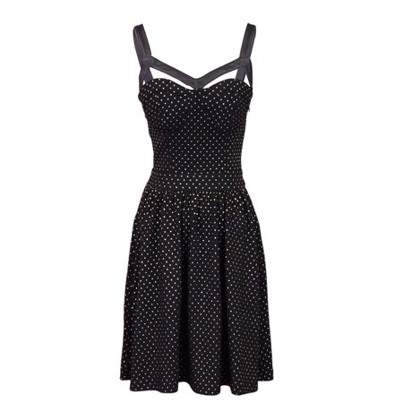 Sans Souci Gold Foil Dot Sleeveless Dress With Faux Leather Straps And Cut Outs](Cut Out Dres)