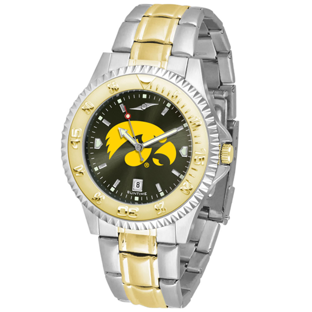 """Iowa Hawkeyes NCAA AnoChrome """"Competitor"""" men's watch (2-Tone Stainless Steel Band)"""