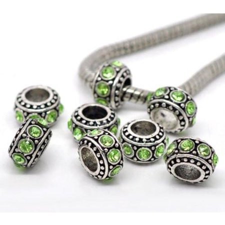 Five Charms (Five (5) August  Period Light Green Rhinestone Charms Spacer Beads For Snake Chain Charm Bracelet)