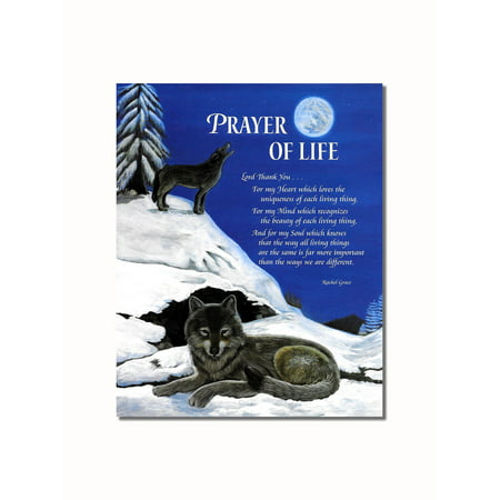 Prayer of Life Wolves in Snow Howling at Moon Wall Picture 8x10 Art (Pics Of Wolves Howling At The Moon)