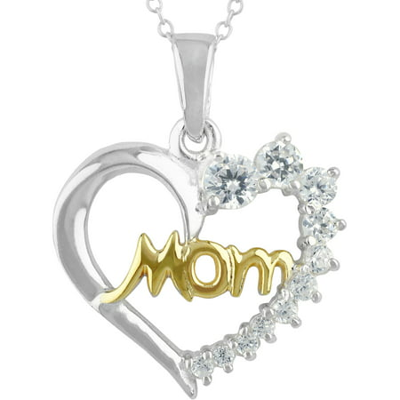 Graduating CZ Stone Sterling Silver/14kt Gold Flash-Plated Two-Tone Mom Heart Pendant Necklace, 18