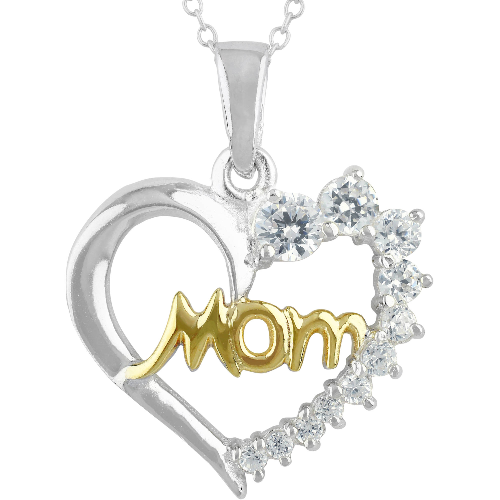 "Truly Radiant Graduating CZ Stone Sterling Silver/14kt Gold Flash-Plated Two-Tone ""Mom"" Heart Pendant Necklace, 18"""