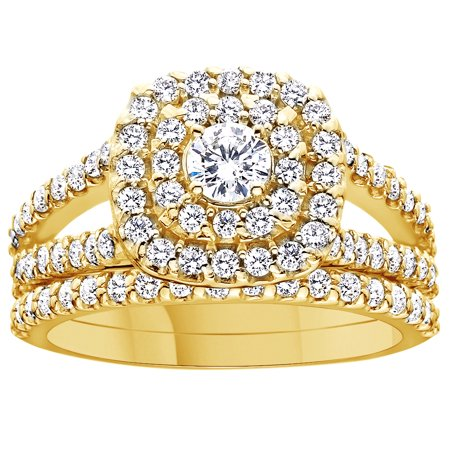 - Round Cut White Natural Diamond Double Halo Engagement Wedding Ring In 10K Solid Yellow Gold By Jewel Zone US