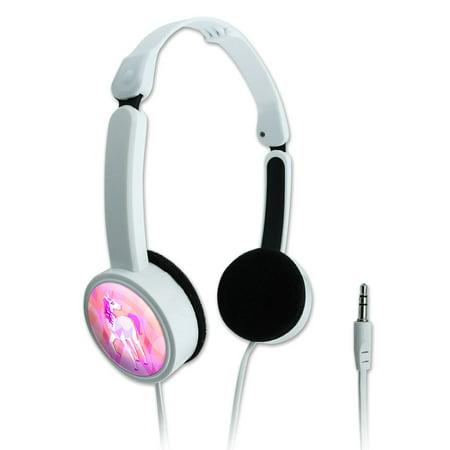 Geometric Unicorn Pink Fantasy Novelty Travel Portable On-Ear Foldable
