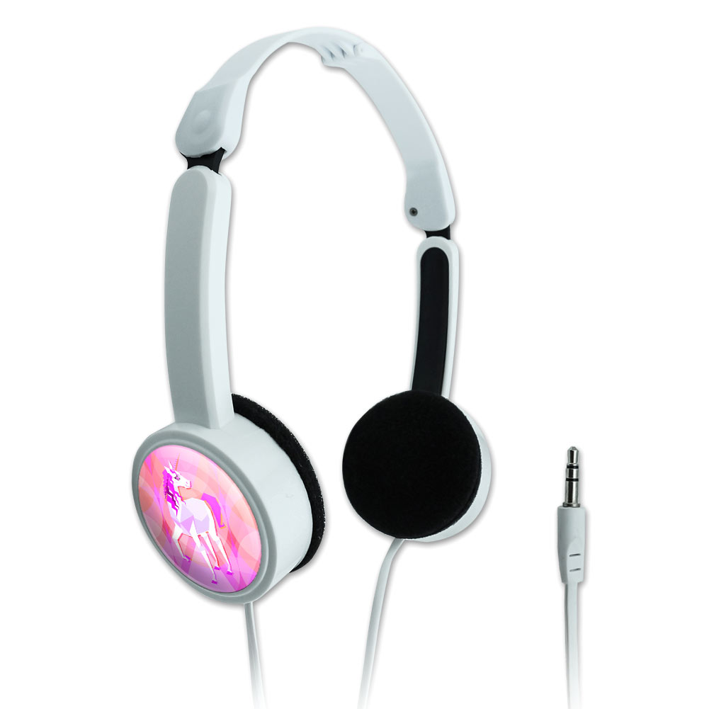 Geometric Unicorn Pink Fantasy Novelty Travel Portable On-Ear Foldable Headphones
