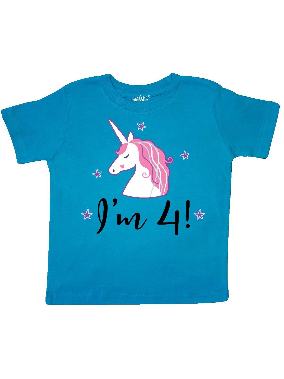 4th Birthday Girls Cute Unicorn Toddler T-Shirt