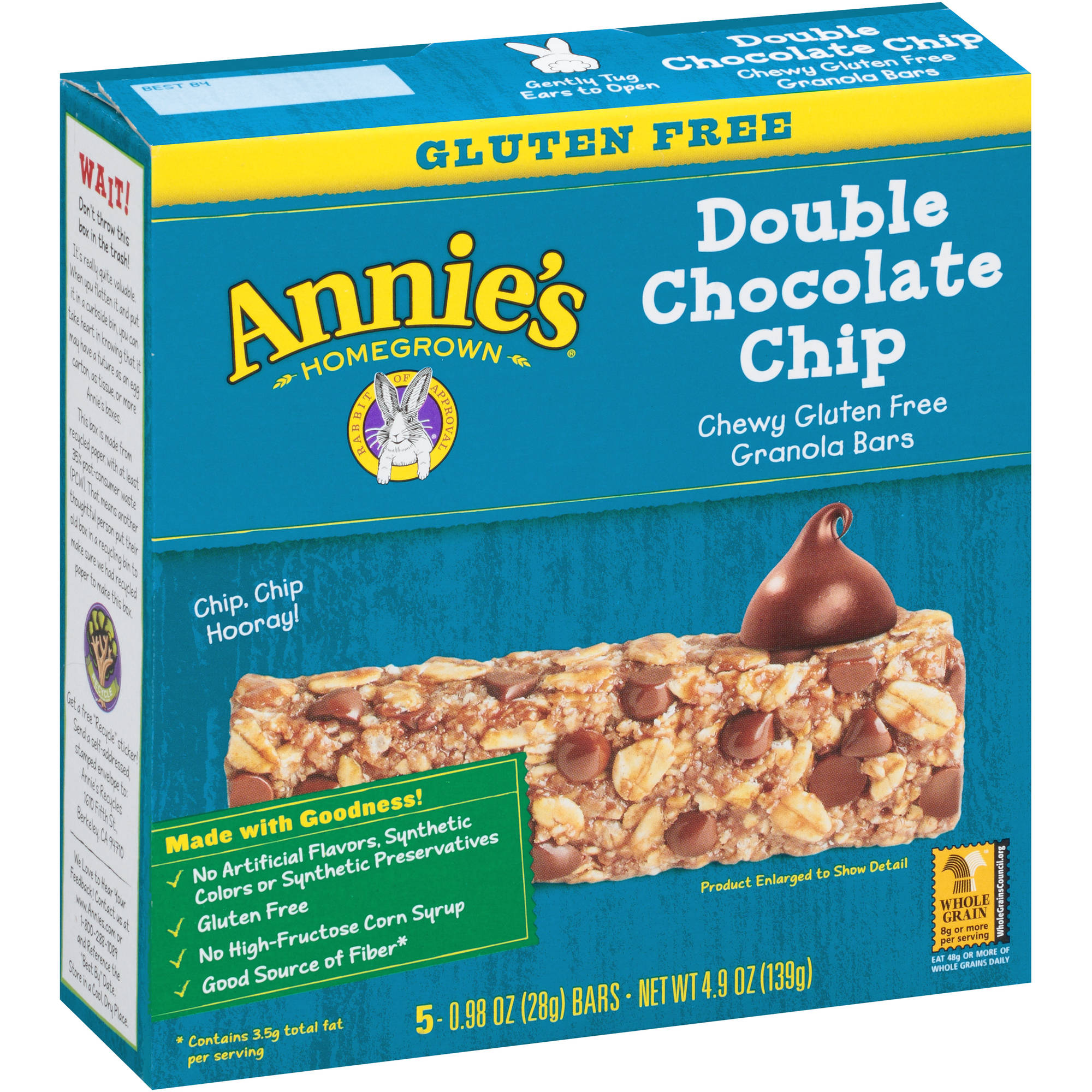 Annie's Gluten Free Double Chocolate Chip Granola Bars 5 Count 4.9 oz.
