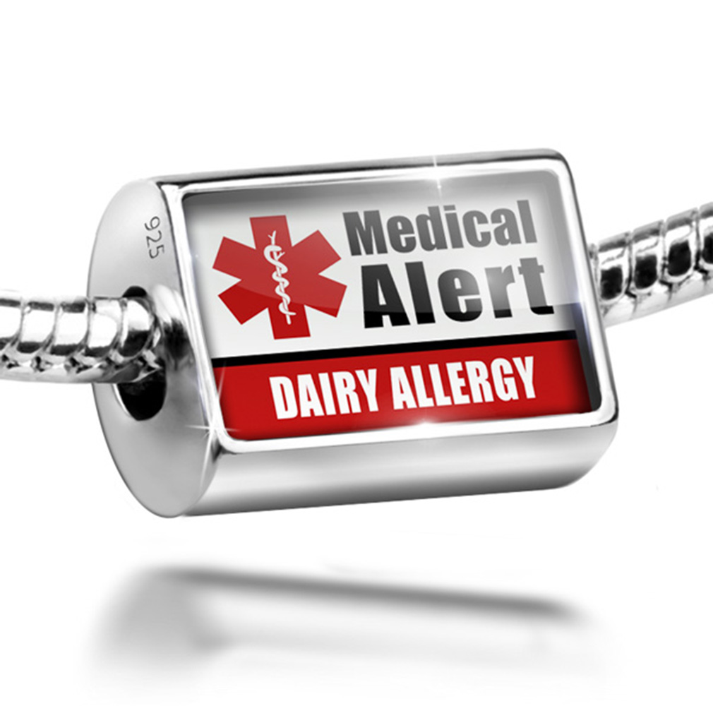 Neonblond Bead Medical Alert Red Dairy Allergy Charm Fits...