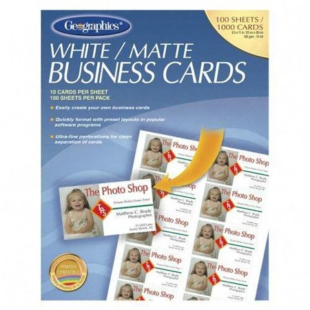 /Geographics Matte Business Cards, 176gsm/8 mil, 100 Sheets, 10 Cards (2'' x 3.5'') per Sheet, 1000 Cards Total. Sold Per Box of 100 Sheets, By Royal Brites Geographics Business Cards
