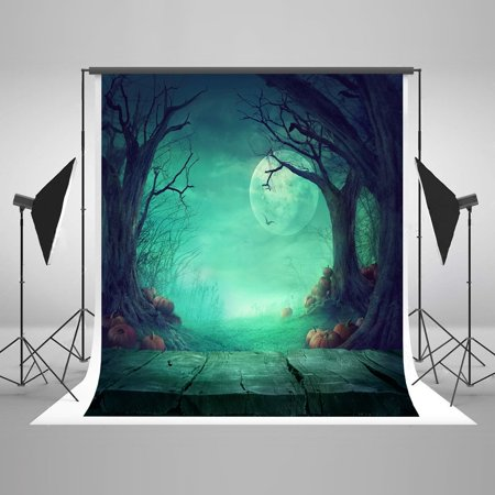 Halloween Party Photo Backdrops (GreenDecor Polyster 5x7ft Halloween Moon Pumpkins Wood Floor Party Decorations Photo Backdrop Photography Booth)