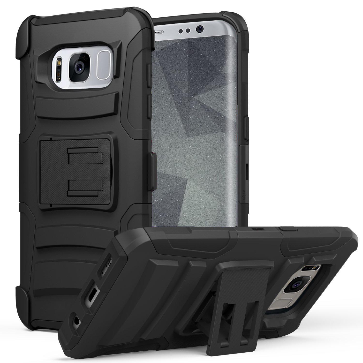 Samsung Galaxy S8 / S8+ Case, ZV Heavy Duty Armor - Kickstand and Holster