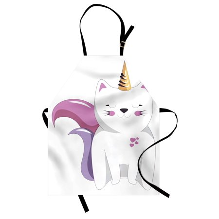 Unicorn Cat Apron Fictitious Horned Character with Cute Face Expression Girls Kids, Unisex Kitchen Bib Apron with Adjustable Neck for Cooking Baking Gardening, Pale Pink Orange Lilac, by Ambesonne