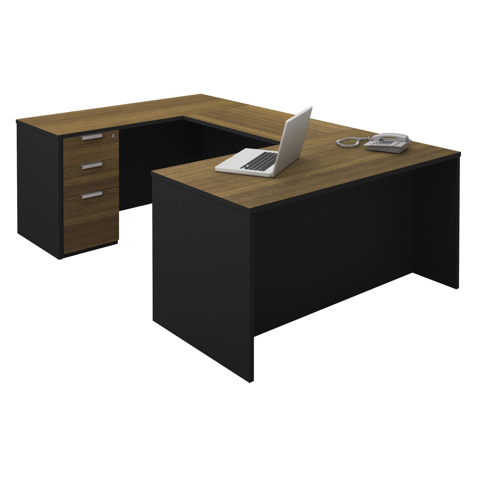 Bestar Pro-Concept U-Shaped Workstation with One Assembled Pedestal - Milk Chocolate Bamboo and Black
