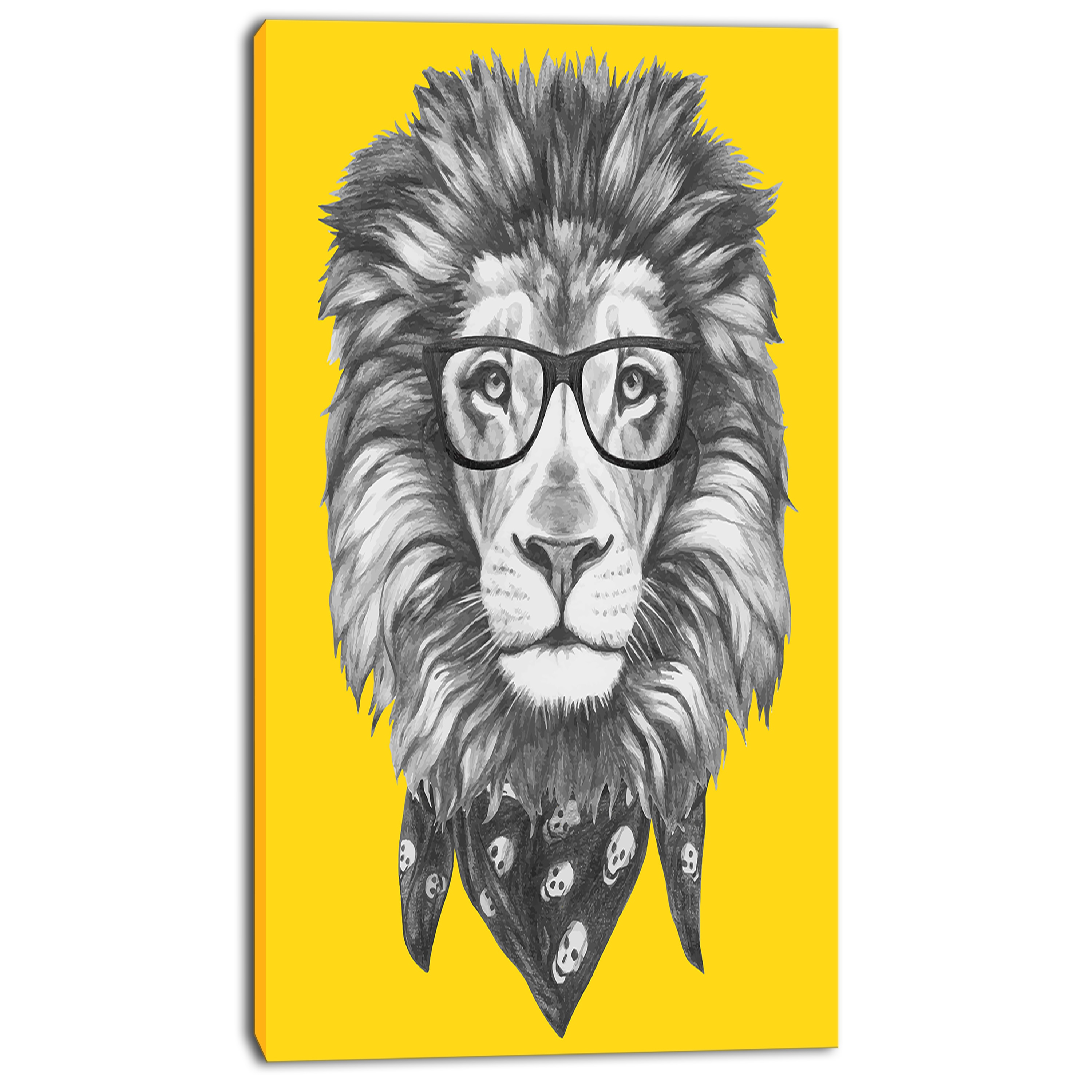 Design Art Lion With Glasses And Scarf 5 Piece Graphic Art On Wrapped Canvas Set Walmart Com Walmart Com