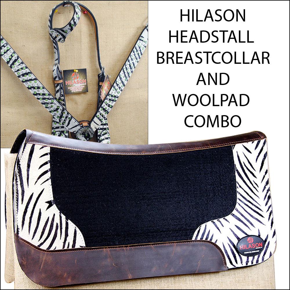 Hilason WESTERN LEATHER HEADSTALL BREAST COLLAR WOOL FELT...