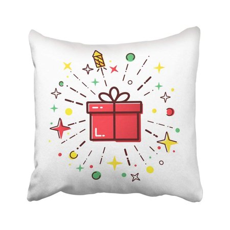 BPBOP Black Line Of Christmas Box With Firework Cute Red Concept For Boxing Day Sale White Merry Pillowcase 18x18 (Melbourne Boxing Day Sales)