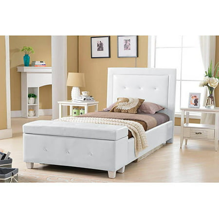 Best master furniture upholstered platform bed white faux - Best platform beds with storage ...