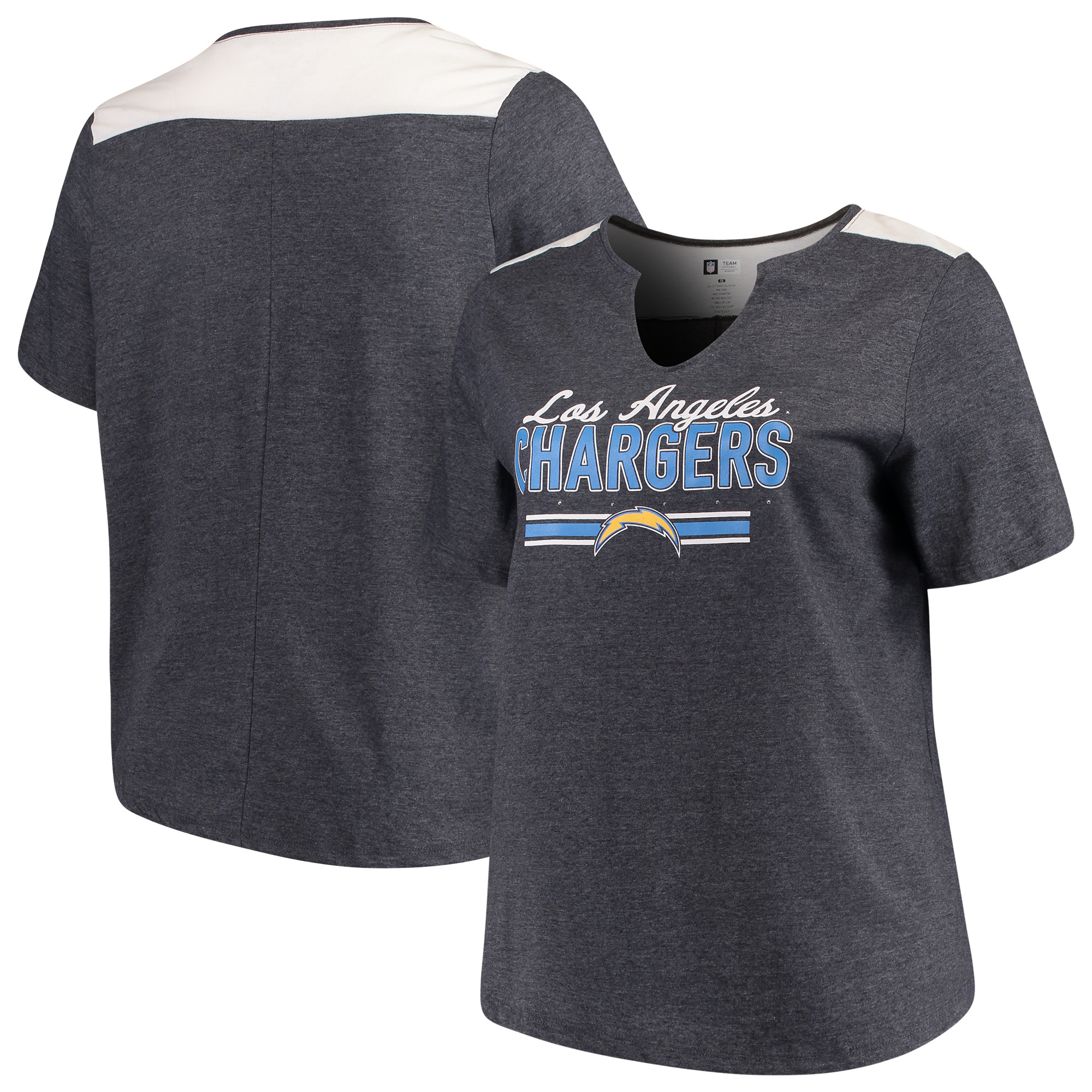 Los Angeles Chargers Majestic Women's Notch Neck Plus Size T-Shirt - Heathered Navy