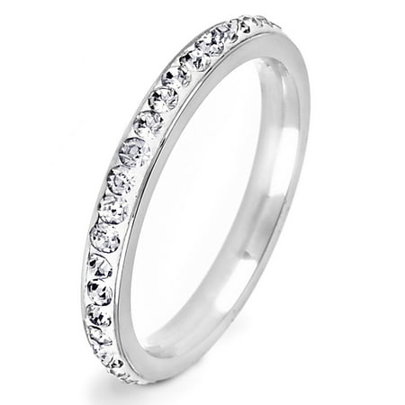 - Polished Cubic Zirconia Eternity Stainless Steel Ring (2.5 mm)