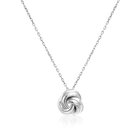Silver Endless Knot (Ribbed Knot Necklace in Sterling Silver)